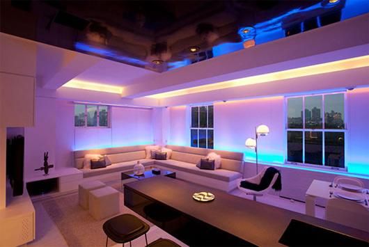 ışıklı oturma odası dekoru