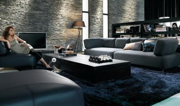 siyah oturma odası takımları ve modelleri
