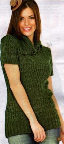 Kısa Kollu Yırtık Boğazlı Yeşil Tunik
