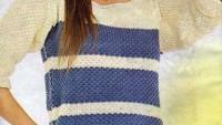Mavi Çizgili Krem Rengi Fakir Kol Örgü Bluz