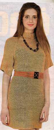 Yarım Kollu  Boğazlı Örgü Elbise Modeli