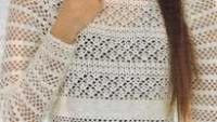 Beyaz File Modelli Mini Örgü Bluz Modeli