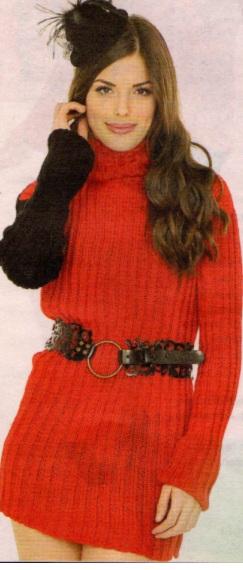 boğazlı kırmızı siyah kollu örgü tunik