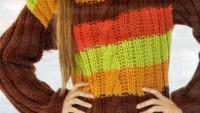 Boğazlı Renkli Çizgili Uzun Kollu Kazak Modeli