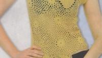 Çiçek Motifli Bayan Örgü Bluz Modeli