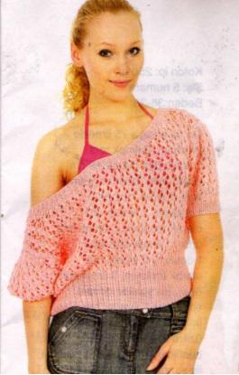 Kayık Yaka Delikli Örgü Bluz Modeli
