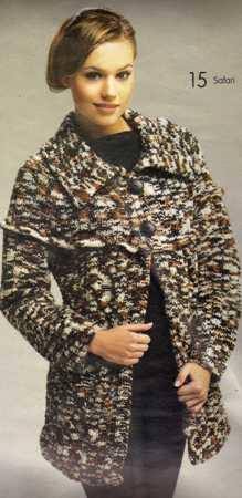 ebruli ipli şal  yakalı uzun bayan hırka modeli