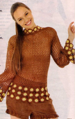 fileli örgü bluz örneği