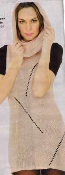geniş boğazlı file desenli kolsuz örgü tunik