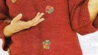 Küçük Çiçek Süslemeli Fakir Kol Kırmızı Örgü Bluz