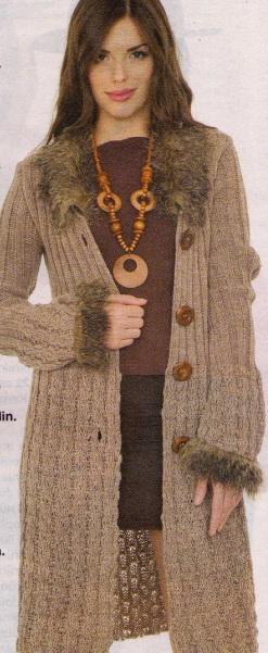kürklü yakalı kahverengi uzun hırka modeli