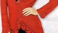 Kırmızı Arkası Uzun Önü Kısa Bayan Hırka