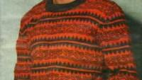 Kırmızı Siyah Desenli Erkek Kazağı
