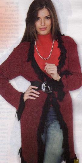 kırmızı uzun hırka modeli