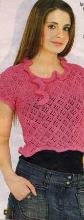 kısa kollu yakası fırfırlı pembe bluz modeli