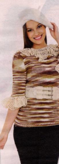 kahverengi ebruli ipli örgü bluz