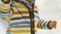 Kahverengi Turuncu Mavi Çizgili Erkek Hırkası