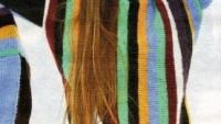 Kolları Püsküllü Renkli Çizgili Kazak Modeli