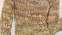 Krem Renkli Fileli Örgü Elbise Modeli