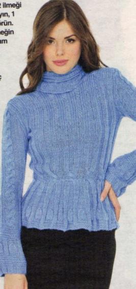 mavi boğazlı kazak modeli