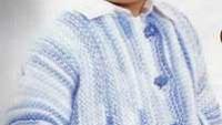 Mavi Ebruli İpli Erkek Bebek Hırkası
