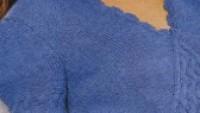 Mavi Kısa Kollu V Yaka Örgü Bluz