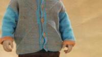 Mavi Kahverengi Simetrik Şekilli Erkek Hırkası