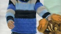 Mavi Krem Rengi Lacivert Çizgili Erkek Kazağı