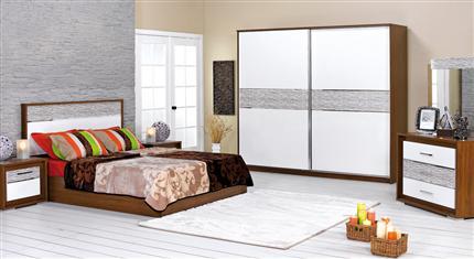 merinos beyaz gardroplu sürgülü yatak odası