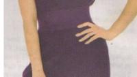 Mor Renginde Örgü Mini Elbise Modeli