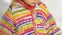 Renkli Çizgili Kapüşonlu Bebek Pançosu