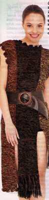 saçaklı farklı tasarımlı örgü elbise modeli