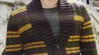 Sarı Çizgili Kahverengi Lastik Yaka Düğmeli Erkek Hırkası