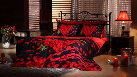 siyah kırmızı uyku seti