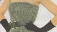 Straplez Kesimli Örgü Elbise Modeli
