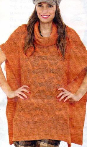 turuncu balıkçıl yakalı panço modeli
