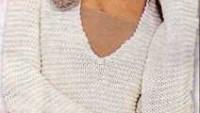 Uzun Kollu Örgü Çiçek Süslemeli Beyaz Bayan Tunik