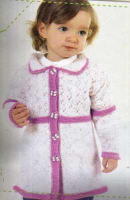 yakalı pembe beyaz uzun bebek hırkası