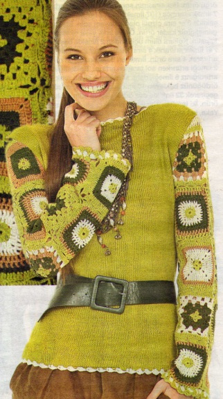 yeşil çiçek motifli düz yakalı kazak modeli