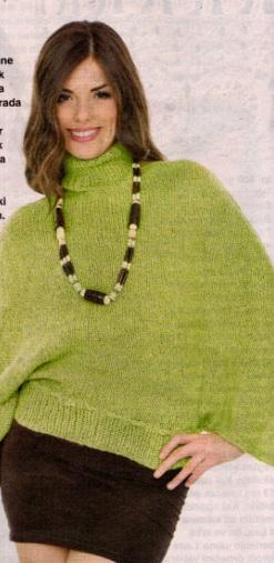 yeşil boğazlı yarasa kollu kazak modeli