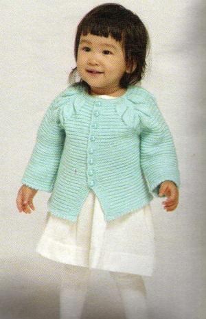yeşil düğmeli kız bebek hırkası