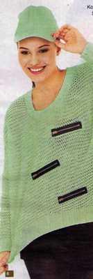yeşil fileli önü fermuar modelli örgü kazak modeli