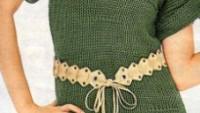 Yeşil Kısa Kollu Örgü Tunik Modeli