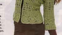 Yeşil Kapri Kol Motifli Hırka Modeli