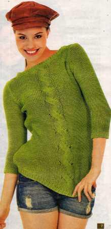 yeşil kapri kol saç örgülü bluz modeli