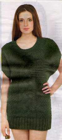 yeşil saç örgülü lastikli örgü elbise modeli