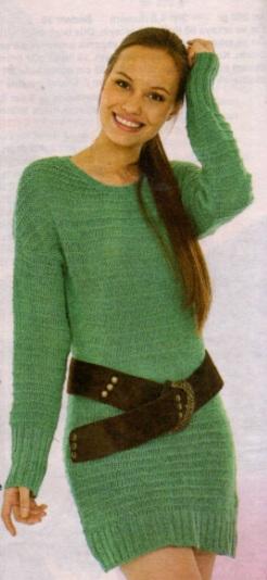 yeşil uzun kollu örgü elbise modeli