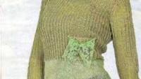Yeşil Uzun Kollu Dantel Süslemeli Örgü Bluz