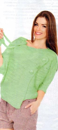 yeşil yandan düğmeli örgü hırka modeli